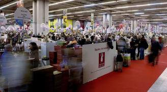 Les allées du plus grands salon des vins d' Europe à Paris porte de Versailles