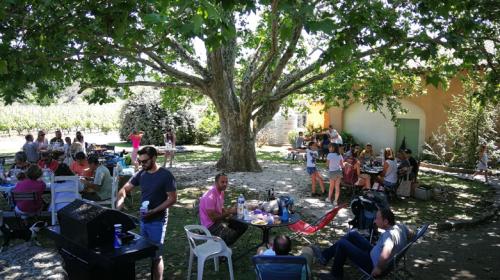 Déjeuner sous l'arbre centenaire et barbecue disponible