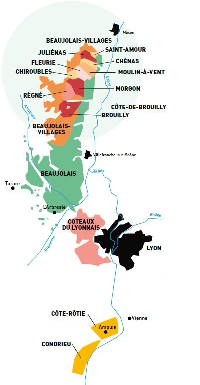 Carte du vignoble du Rhône